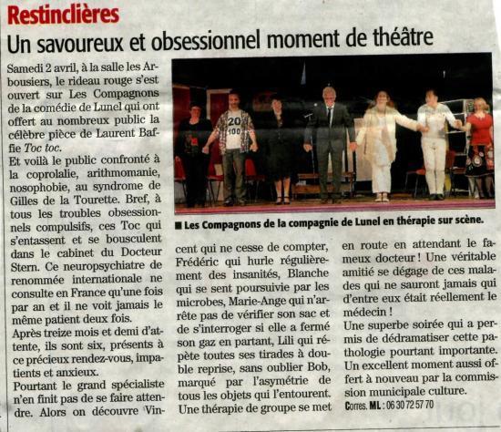 Midi libre Restinclières 2 avril 2016